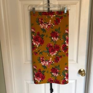 Floral/Mustard color Pencil Skirt